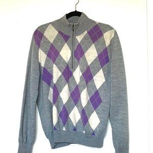 🖐🏼🥳 5/$25 Argyle Zip Neck Golf Sweater Purple